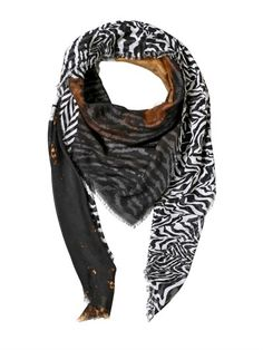 $359, Zebra Printed Modal Blend Scarf by Roberto Cavalli. Sold by LUISAVIAROMA. Click for more info: http://lookastic.com/men/shop_items/144722/redirect