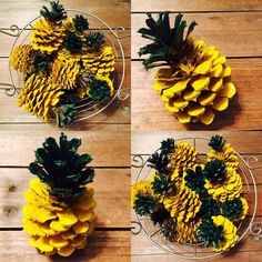 Make these adorable and easy Pineapple Pinecone Tropical Bowl Filler decorations! For a tropical Christmas or all-year-round centerpiece.Pineapple Pinecone- I'm envisioning these on a welcome wreath with felt flowers Pine Cone Art, Pine Cone Crafts, Pine Cones, Summer Crafts, Holiday Crafts, Crafts To Do, Crafts For Kids, Pineapple Kitchen, Pineapple Craft