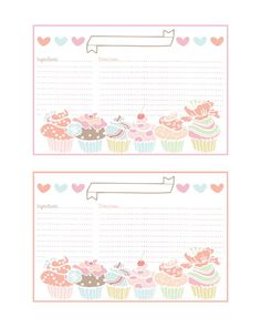 Cupcake Recipe Cards and more all FREE.