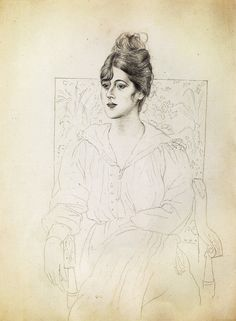 www.wikiart.org - Pablo-Picasso - Expressionism - Portrait of Madame Patri (1918)