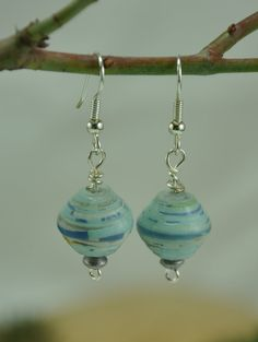 Blue wire wrapped paper bead earrings - paper bead jewelry. $13.00, via Etsy.