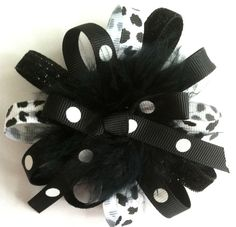 Girls/Baby/Toddler Black & White Dalmatian Hair Bow or Hair Clip by MissLittleBowtique, $5.50