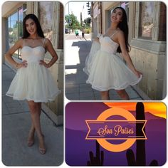 Creme Tulle Dress This gorgeous dress features spaghetti straps, an A-line silhouette, semi sweetheart neckline and tulle skirt. Fully lined, back gold zipper closure. 100% Polyester. (This closet does not trade or use PayPal ) Ark & Co Dresses Midi