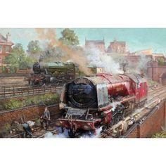 Fine Art Prints of Railway Scenes & Train Portraits - Duchess on Camden Bank by David Noble Steam Art, Old Steam Train, Train Art, Railway Posters, British Rail, Mobile Art, Train Engines, Art Uk, Steam Locomotive