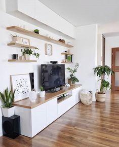 Living Room Shelves, Boho Living Room, Living Room Grey, Home And Living, Living Room Decor, Living Room Interior, Small Living Rooms, Living Room Tv Unit Designs, Budget Home Decorating