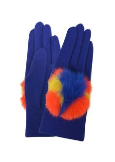 Like the big multicolour fur pompom on these soft wool Vincent Pradier gloves