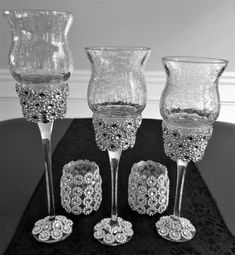 Items similar to Three Tier Piece Crackle Glass Decor Silver on Etsy Wedding Vase Centerpieces, Wedding Vases, Wedding Belts, Wedding Table, Wedding Favors, Glitter Wine Glasses, Diy Wine Glasses, Diy Candle Holders, Diy Candles