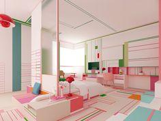 Branimira Ivanova and Desislava Ivanova, the design duo behind Brani & Desi, designed the Pink Lake Breath apartment exploring bold colors + color blocking.