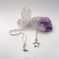 Written In The Stars: Pair of Silver Moon & Star Charm necklaces. BFF necklaces.