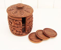 Carved Wooden Round Coasters x 8 in carved by Florinandsixpence