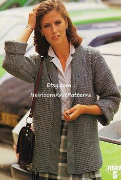 *******Instant download Pattern PDF - 180 ********* Knitting Pattern for Ladies Edge-to-Edge Jacket with Aran Patterned Yoke. CHEST SIZE 34-36-38-40. YOU WILL NEED Aran weight yarn, 3.75mm, 4mm, 4.5mm knitting needles, cable needle. YOU WILL RECEIVE A PDF file of the original vintage pattern. NOT the finished item or the original pattern. (It will not arrive in the post). You will receive an email immediately following your confirmed payment, which will include your download link. Thank…