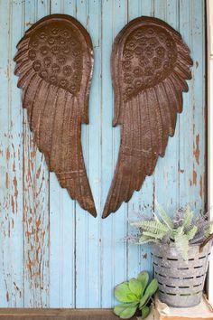 Kalalou Metal Hand Hammered Angel Wings - Set Of 2