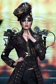 An obviously not homebrewed look, but an unusually steampunk look for a designer photoshoot.