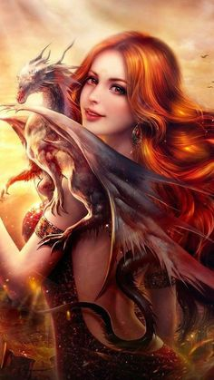 Image result for fantasy girl with dragon