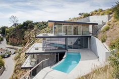 Francois Perrin designs a house of stacked layers on an impossibly steep site in the Hollywood Hills.
