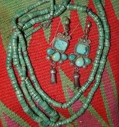 Vintage turquoise earrings and pump drilled bead necklace