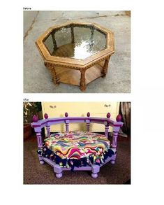 Great concept, different colors needed. Dog bed from table. Great to see a larger cute dog bed. Cute Dog Beds, Diy Dog Bed, Diy Bed, Doggie Beds, Pet Beds Diy, Dog Furniture, Furniture Online, Dog Rooms, Dog Crafts