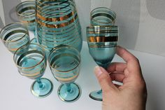 Vintage glass decanter and stem glasses by MossAndBerry on Etsy, $110.00