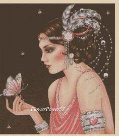 Cross stitch chart Art Deco Lady - No 133 FlowerPower37-uk FREE UK P&P | eBay