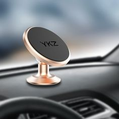 YKZ Magnetic Car Mount Phone Holder for Any Phones iPhone 7 / 6 / 5 Galaxy S7 / S6 or GPS And Onepiece Stylish Design And Strong Magnet Gold ** Want additional info? Click on the image. (This is an affiliate link)