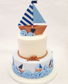 A beautiful sail boat cake for a baby boy! A beautiful sail boat cake for a baby boy! Baby Boy Birthday Cake, Novelty Birthday Cakes, Baby Boy Cakes, Baby Shower Cakes, Rainbow Birthday, Cakes For Boys, Sailor Cake, Boat Cake, Nautical Cake