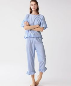Striped trousers with frills - New In - Spring Summer 2017 trends in women fashion at Oysho online. Cute Sleepwear, Sleepwear Women, Night Suit For Women, Pijamas Women, Cute Pajama Sets, Cute Lazy Outfits, Pajama Pattern, Indian Designer Outfits, Nightwear