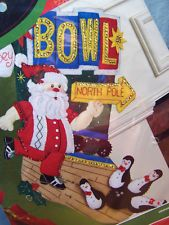 "18"" BUCILLA BOWLING SANTA PENGUINS FELT EMBROIDERY BEADED CHRISTMAS STOCKING KIT Christmas Stocking Kits, Felt Christmas Stockings, Felt Embroidery, Bowling, Penguins, Santa, Ebay, Penguin"