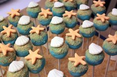 Cake pops for a beach themed party. Beach Cake Pops, Nautical Cake Pops, Nautical Theme, Beach Themed Cakes, Beach Cakes, Beach Treats, Wedding Cake Pops, Brie, Macarons