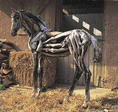 life sized equine carvings | Driftwood horses
