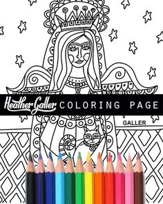 Angel coloring Folk Art coloring book adult by HeatherGallerArt