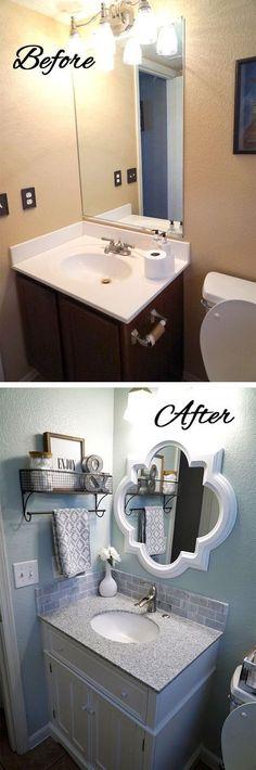 20 design ideas for a small bathroom renovation Fun Home Design – Small Kitchen Ideas Storages Small Half Bathrooms, Bathroom Small, Kitchen Small, Dream Bathrooms, Half Bathroom Remodel, Bathroom Makeovers, Shower Remodel, Kitchen Remodel, Home Staging