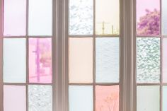 Gila DIY Window Film Happy Bright Pastel Emily Henderson Bamboo Seating Area Windows