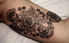 black work tattoo #floral tattoo