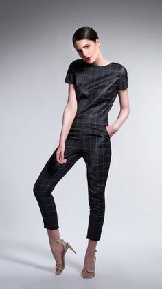 Straight cut Jumpsuit in Black and White Chess Print Straight Cut, Spring Summer 2015, Jumpsuit, Black And White, Chess, Dresses, Fashion, Overalls, Gingham