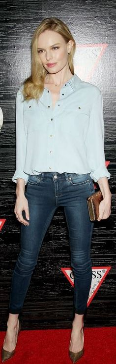 Who made  Kate Bosworth's blue skinny jeans, button down shirt, gold clutch handbag, and pumps?