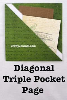 Create a speedy One Sheet Diagonal Triple Pocket Page in just a few minutes. By Crafty Journal Journal Paper, Scrapbook Journal, Travel Scrapbook, Scrapbook Albums, Scrapbook Supplies, Junk Journal, Scrapbook Paper, Scrapbook Organization, Journal Ideas