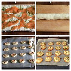 Blätterteig-Schnecken - immer wieder anders gefüllt:  1 Rolle Blätterteig (gekühlt, zb von Lidl oder Aldi), Kräuterfrischkäse,Lachs, Meerrettich-Frischkäse, Salz, Pfeffer, Dill  1 Ei, Und so geht's: 200 Grad bei Ober-Unterhitze, Blätterteig ausrollen, füllen, in je ca. 0,5 cm breite Stücke, mit Ei bestrichen, Backpapier, 15-20 min.