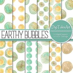 """Colorful, warm and earthy hand painted set of digital papers """"Earthy Bubbles"""" in aqua, yellow, orange, brown, turquoise and green. These images are full of unusual textures, pools of pigment that can only be achieved with hand painted washes.  Perfect for scrapbooking, making cards, invitations, collages, crafts, web graphics, and so much more. #DigiTalesArt"""