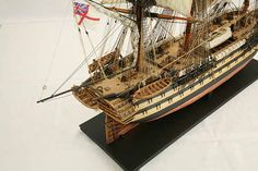 Close-up photos of ship model HMS Wellesley. HMS Wellesley was launched at Bombay in 1815 as a 74 gun ship. Scale Model Ships, Scale Models, Wooden Model Boats, Old Sailing Ships, Hms Victory, Ship Of The Line, Close Up Photos, Ship Art, Military
