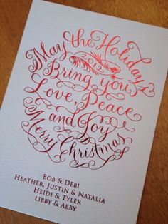 My calligraphy Christmas card, foil stamped in red.