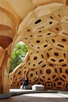 Pin of the Day- Woman sitting in a breath taking structure. Parametric Wood Architecture