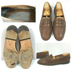 3618bb9fdd2 Cole Haan Resort Brown Leather Weave Casual Shoes Penny Loafer Mens Size 9N   ColeHaan