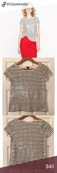 J.CREW Sequin Stripe Top Beautiful J.CREW sequin stripe top. Size XXS. Worn gently once. Like new condition. J. Crew Tops Blouses