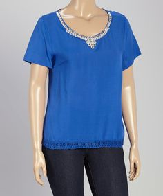 Look at this #zulilyfind! Blue Rhinestone-Embellished Top - Plus by Colette Collection #zulilyfinds