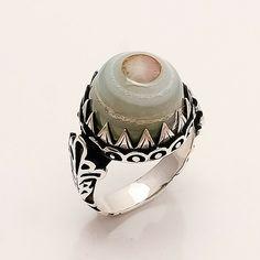 Genuine Botswana Onyx Eye Agate Ottoman Men's Ring 925 Sterling Silver Jewelry #Handmade #Ottoman #Fathersdaygifts Sterling Silver Mens Rings, Turkish Jewelry, Agate Ring, Black Rings, Ottoman, Eid Gift, Rings For Men, Eye, Handmade