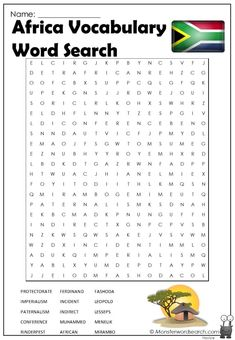 nice Africa Vocabulary Word Search Free Printable Word Searches, Vocabulary Words, Geography, Free Printables, Africa, Names, School, Free Printable, Schools