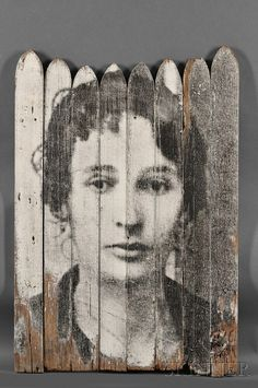 "David Prifti (American, 1961-2011)  Matriarch. Incised and branded ""PRIFTI...."" and titled in ink on the reverse. Liquid photographic emulsion on wooden fence fragment"