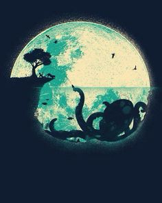 Silhouette of a boy fishing & catching an  octopus