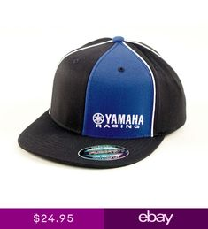 296a3a16fbb Factory Effex Yamaha Racing Black Blue Flex-Fit Hat Cap Adult Licensed YZ  YZF R1