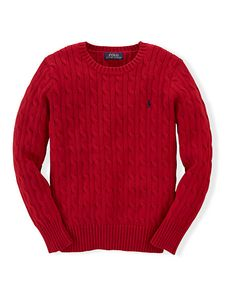 Cable-Knit Cotton Sweater - Jumpers Boys' 6-14 Years - Ralph Lauren UK